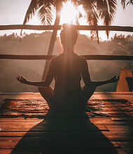 Meditation and Diabetes - mediating in sunset